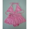 可爱儿童分体泳衣,粉红白点,流行2012