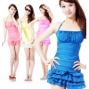 莉槿朵韩国设计泳衣 小胸聚拢带钢托连体裙式泳衣