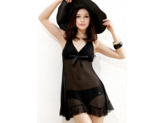 新款三奇分体裙式二件套泳装 黑色性感显瘦泳衣
