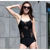 新款三奇拼接连体平角泳衣 黑色一件套泳装