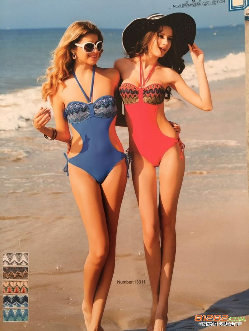 詹妮弗泳装女连体比基尼挂脖系带性感修身时尚沙滩必备人气爆款